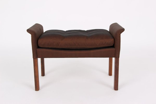 rosewood and silk sofa footstool by hans olsen for cs mobelfabrik 1960s set of 2