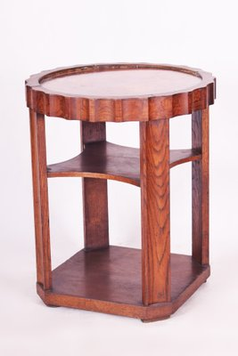 small art deco czech oak and copper round coffee table 1920s