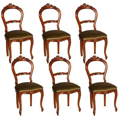 chaises de salle a manger style louis philippe en noyer sculpte annees 40 set de 6