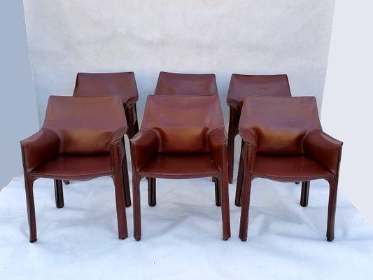 chaises de salle a manger modele cab 413 en cuir marron par mario bellini pour cassina annees 80 set de 6