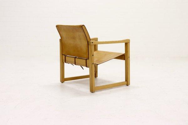 chaise safari en pin et cuir par karin mobring pour ikea annees 70