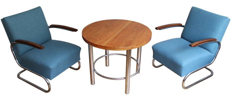 lounge chairs and coffee table set by walter schneider paul hahn for hynek gottwald 1930s