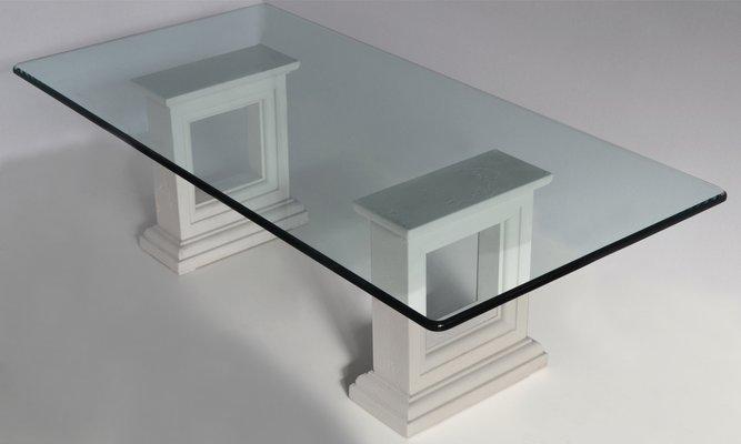 italian crystal carved stone base coffee table by cupioli