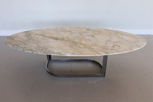 vintage chrome and marble oval coffee table 1980s