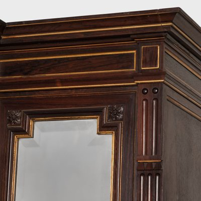 antique french mirrored three door armoire