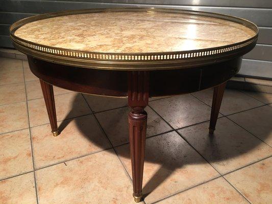 table basse style louis xvi mid century en marbre laiton et bois 1950s