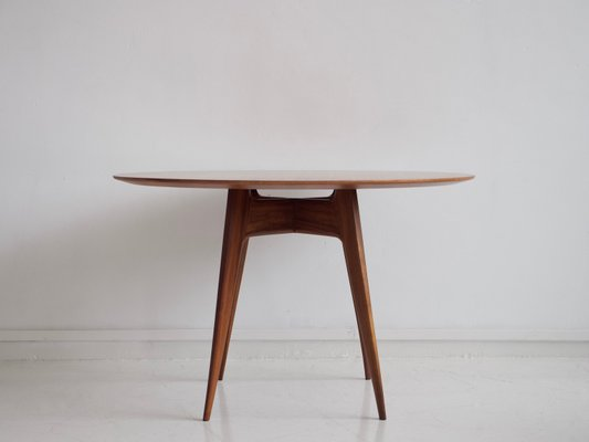 italian modern round wooden dining table 1950s