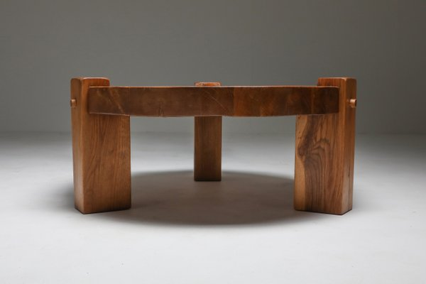 modern rustic oak coffee table 1960s