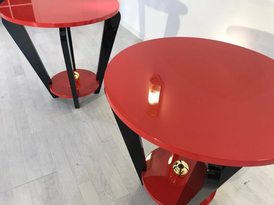 art deco style red and black side tables set of 2