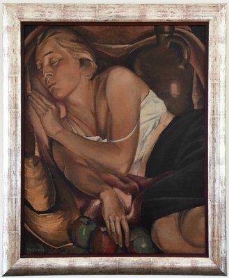 peinture art deco d une femme endormie avec 3 pommes par jean joseph hoslet 1948