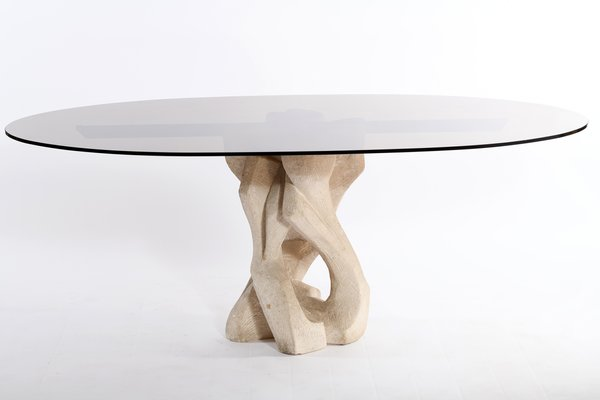 mid century italian oval glass top and abstract brutalist sculptural base dining table 1960s