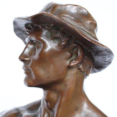 grande sculpture de mineur en bronze du 19eme siecle par charles octave levy