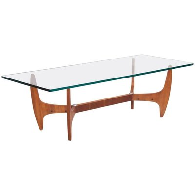 large mid century brazilian coffee table with glass top 1960s