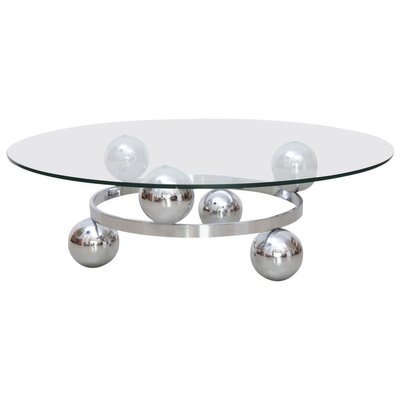 round chrome sputnik atomic coffee table with glass top 1960s