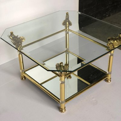 hollywood regency brass glass coffee table with elephant heads 1940s