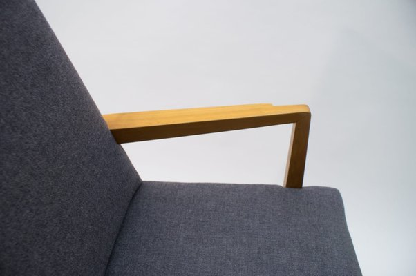 mid century modern wood armchair in grey fabric germany 1950s