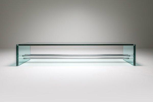 large vintage glass coffee table by fontana arte 1970s
