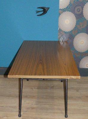 mid century filigree metal frame coffee table
