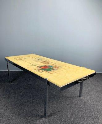 table basse avec plateau en resine et cadre en chrome allemagne 1970s