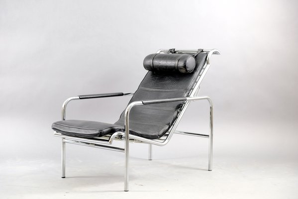 vintage chrome and black leather genni lounge chair by mucchi for zanotta 1930s