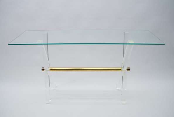 hollywood regency plexiglas glass and brass console table 1960s