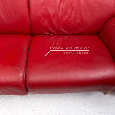 red paradise leather corner sofa bed with relax function from stressless set of 2