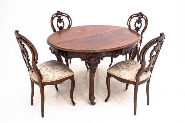antique dining table chairs set set of 5