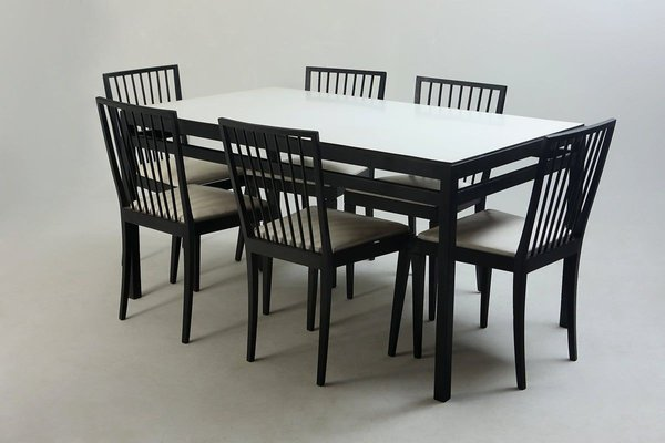 Mid Century Modern Dining Table Chairs Set From Flama Manufacture Brazil 1950s Set Of 7 For Sale At Pamono