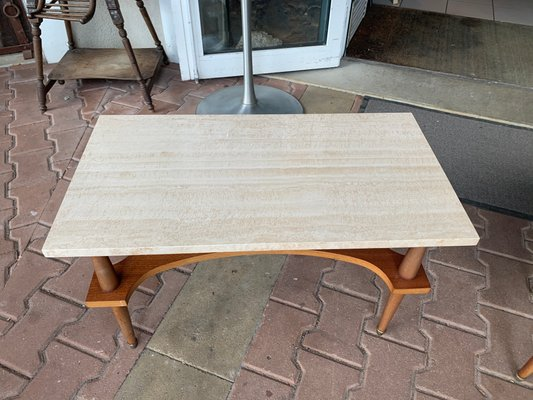 marble and wood coffee table 1960s