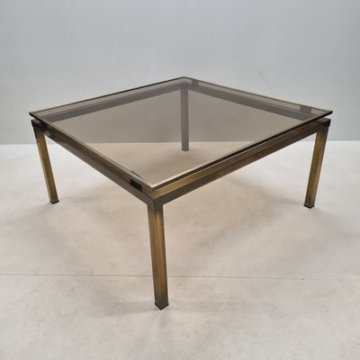 french brass square coffee table with smoked glass top 1970s