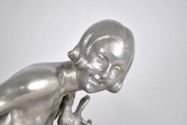 sculpture jeune femme art deco en bronze par armand godard 1930s