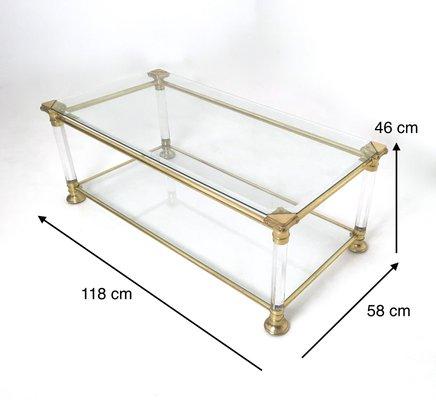 table basse rectangulaire en verre laiton et plexiglas italie 1980s