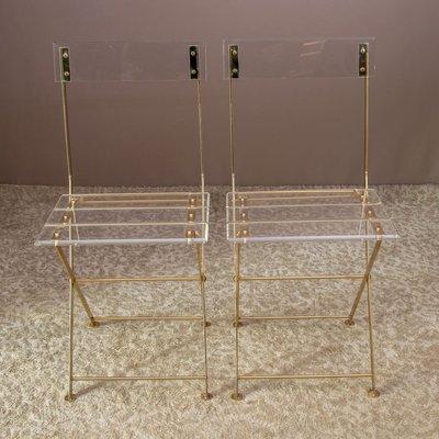 chaises de jardin pliantes vintage en plexiglas et laiton dore de maison et jardin paris set de 2
