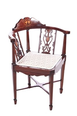 chaise d angle edouardienne antique en acajou marquete