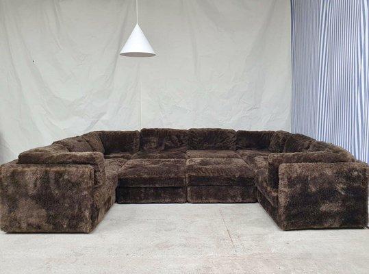 large mid century furry wool modular corner sofa set of 10