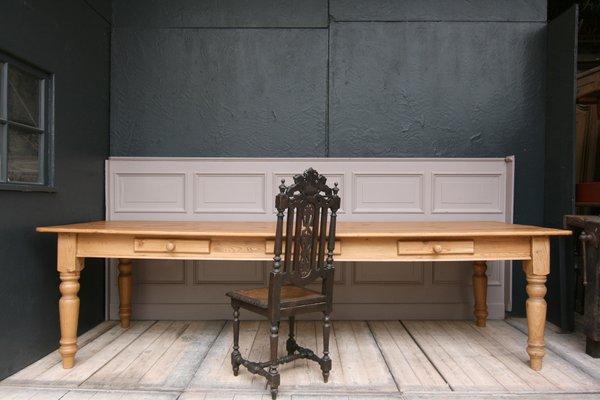 grande table de salle a manger en bois tendre 1990s