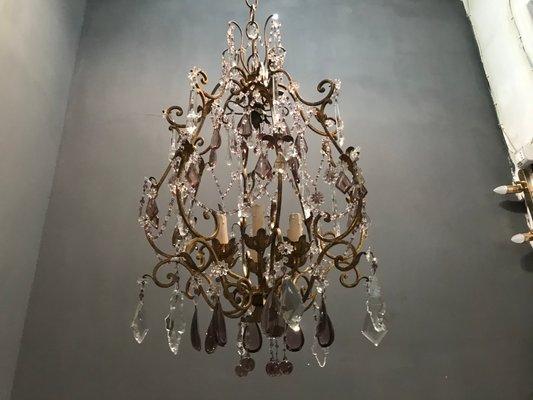 Arredare con i lampadari di cristallo. Lampadario Vintage In Cristallo Con Gocce In Vetro Di Murano In Vendita Su Pamono