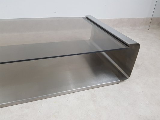 french stainless steel coffee table by francois monnet 1970s