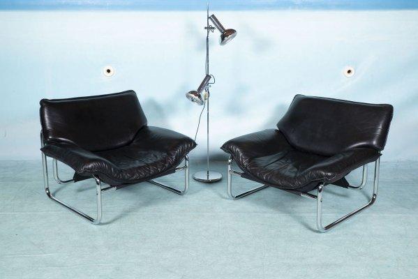 fauteuil vintage en cuir par johann bertil haggstrom pour ikea 1980s