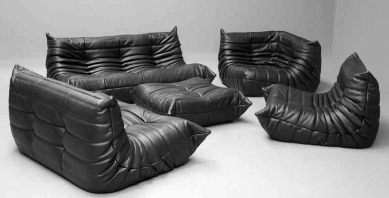vintage black leather togo sofa set by michel ducaroy for ligne roset 1