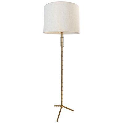 lampadaire tripode vintage en faux bambou et laiton