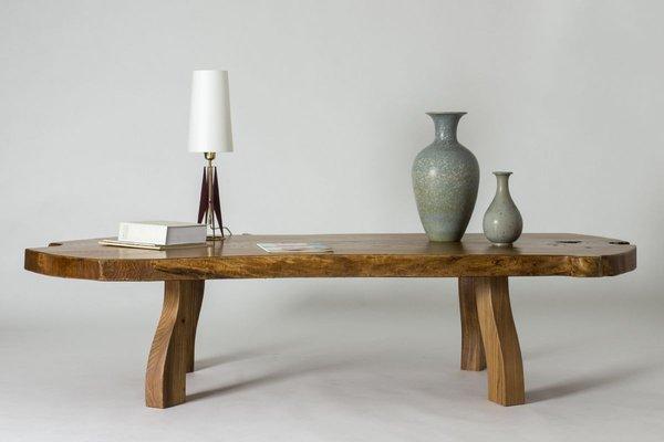 pine slab coffee table by c a beijbom 1960s