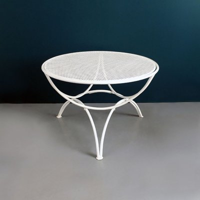 mid century italian white metal outdoor table with perforated round top 1950s