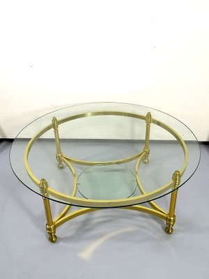 round brass coffee table with glass top and shelf 1970s