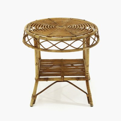 rattan coffee table with round top 1950s
