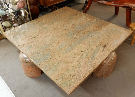 square coffee table in brown red granite