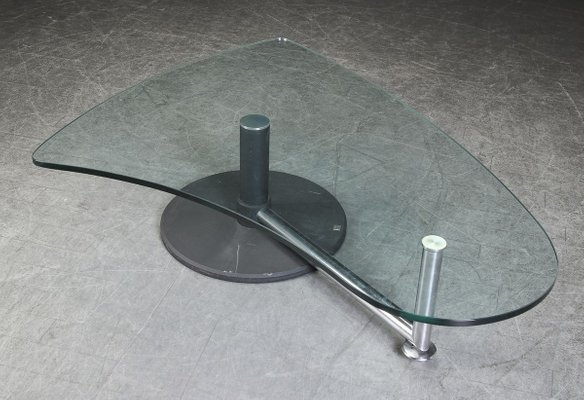 glass and black metal coffee table by rolf benz
