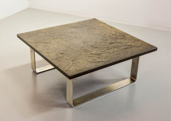 ardesia collection brutalist square slate stone coffee table in the style of pia manu