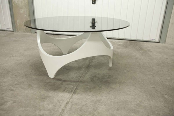 space age curved white wooden coffee table 1970s