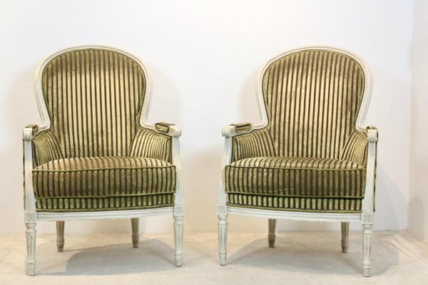 louis xvi style bergere chairs by rosello paris france set of 2